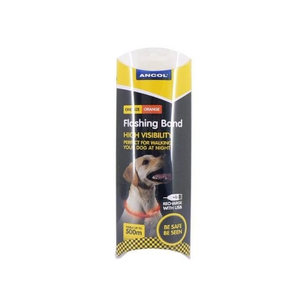 Ancol Flashing Light Safety Collar From The Pet Parlour Dublin