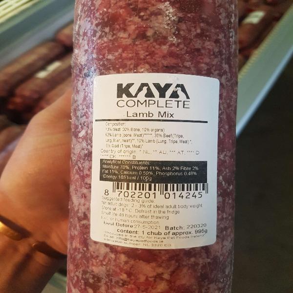 Kaya Complete Lamb Mix 995g, Raw Dog Food, The Pet Parlour Terenure Dublin