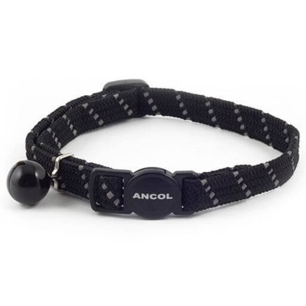 Ancol Reflective Softweave Cat Collar Black From The Pet Parlour Dublin