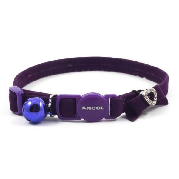 Ancol Purple Velvet Heart Cat Collar Pet Parlour Dublin